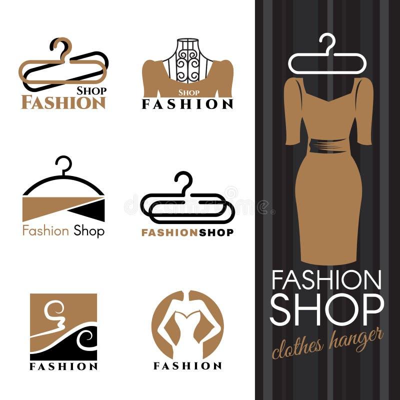 Het embleem van de manierwinkel - Bruin Kleding en kleerhanger vector vastgesteld ontwerp stock illustratie