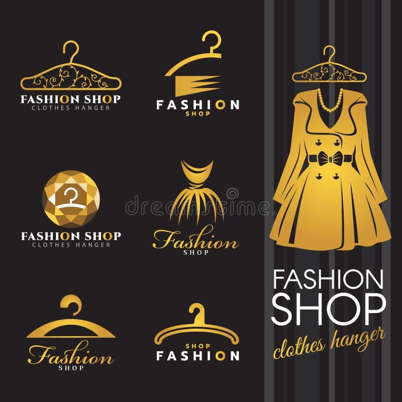Het embleem van de manierwinkel - Gouden van de de winterkleding en kleerhanger embleem vector vastgesteld ontwerp royalty-vrije illustratie