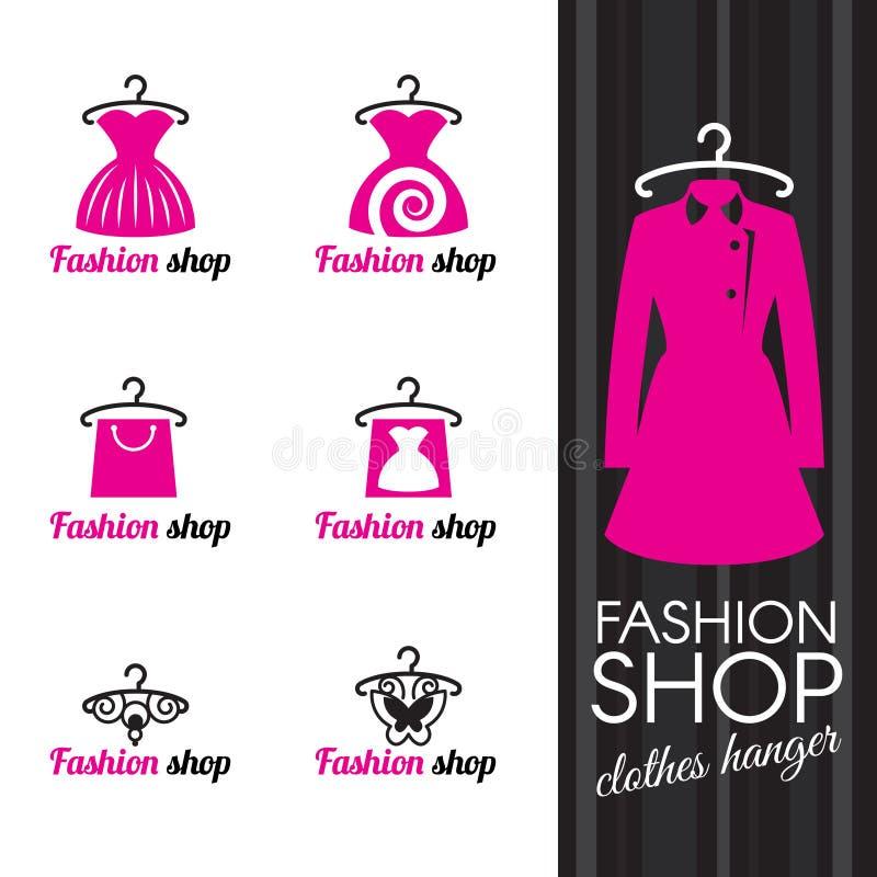 Het embleem van de manierwinkel - kleerhanger en kledings het winkelen zak en vlinder vector illustratie