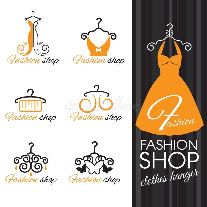Het embleem van de manierwinkel - Oranje kleerhanger en kleding en vlinder royalty-vrije illustratie