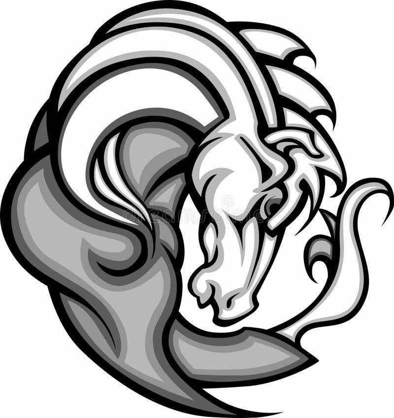 Het Embleem van de Mascotte van de mustang/van het Wild paard royalty-vrije illustratie