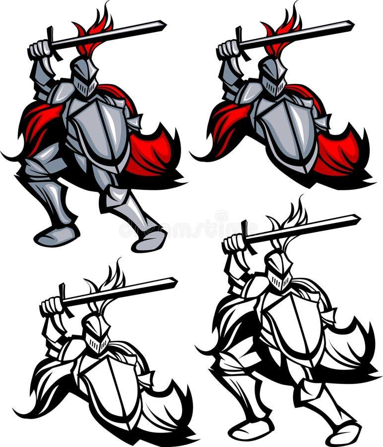 Het Embleem van de Mascotte van de Voorvechter van de ridder royalty-vrije illustratie