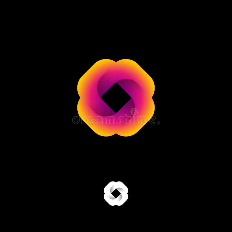 Het embleem van de meetkundebloem UI pictogram Rond gemaakt vierkant de origamiembleem van het gradiëntlint Abstract meetkunde mo royalty-vrije illustratie