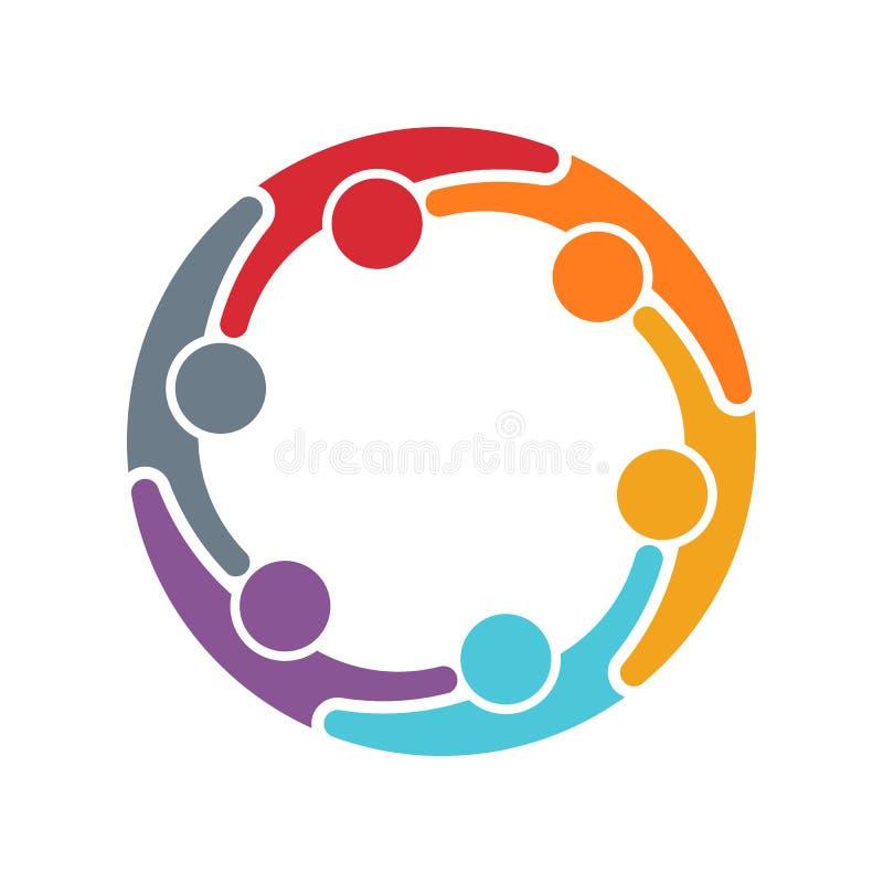 Het embleem van de mensenfamilie vectorontwerpillustratie royalty-vrije illustratie