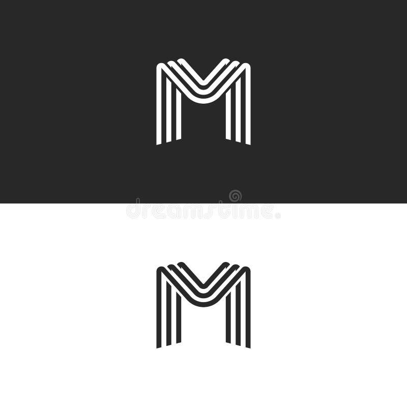 Het embleem van de monogrambrief M, zwart-witte vlotte lijnen ontwerpt element, minimale stijl MMM initialen stock illustratie
