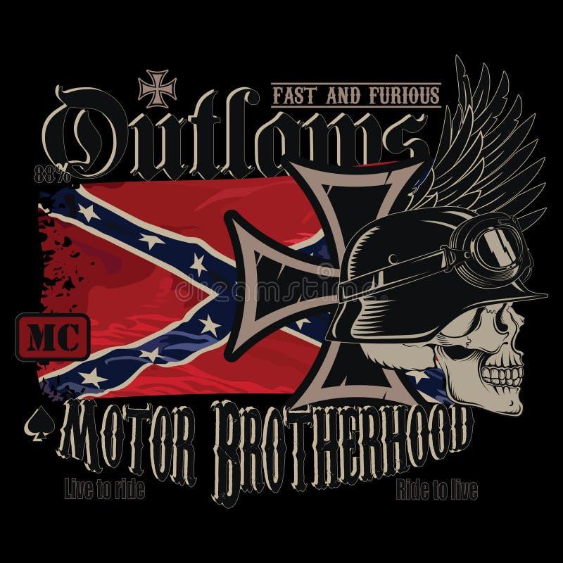 Het embleem van de motorfietsclub, strijkt kruis, een menselijke schedel in een Duitse helm en de ontwikkelende Verbonden vlag stock illustratie
