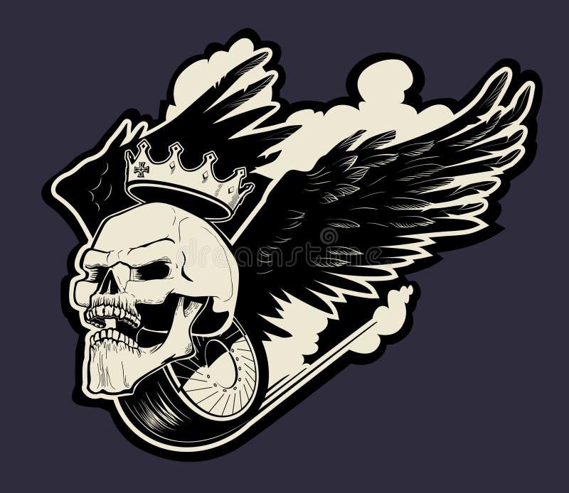 Het embleem van de motorschedel royalty-vrije illustratie