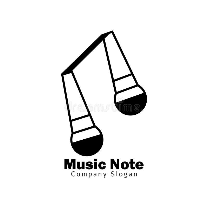 Het embleem van de muzieknota voor de muziekindustrie royalty-vrije illustratie