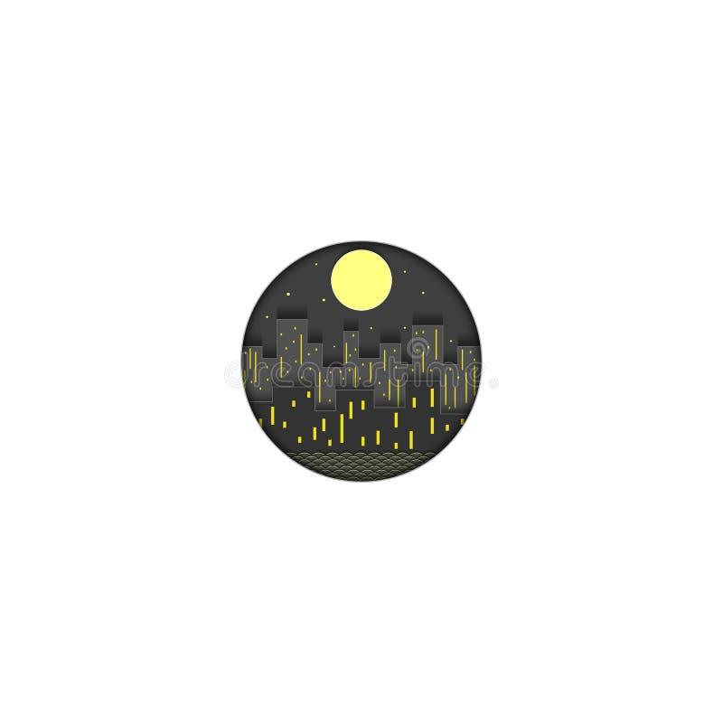 Het embleem van de nachtstad van document, de lichten van de avondmetropool met wolkenkrabbers en huizen tegen de achtergrond die royalty-vrije illustratie