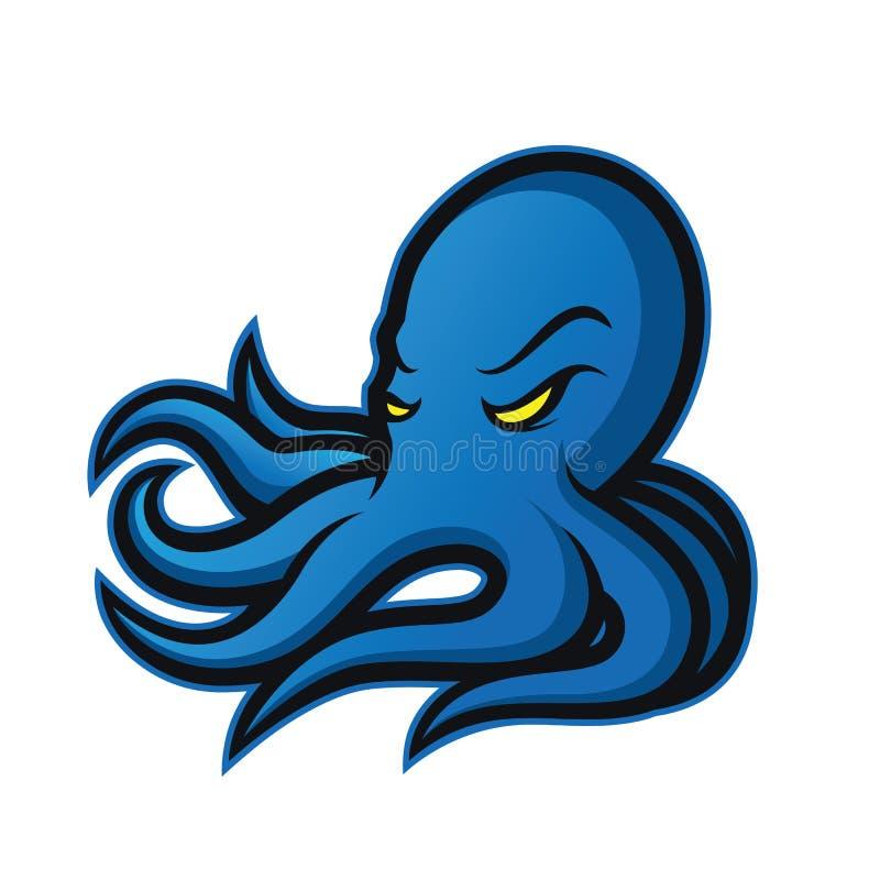 Het embleem van de octopusmascotte vector illustratie