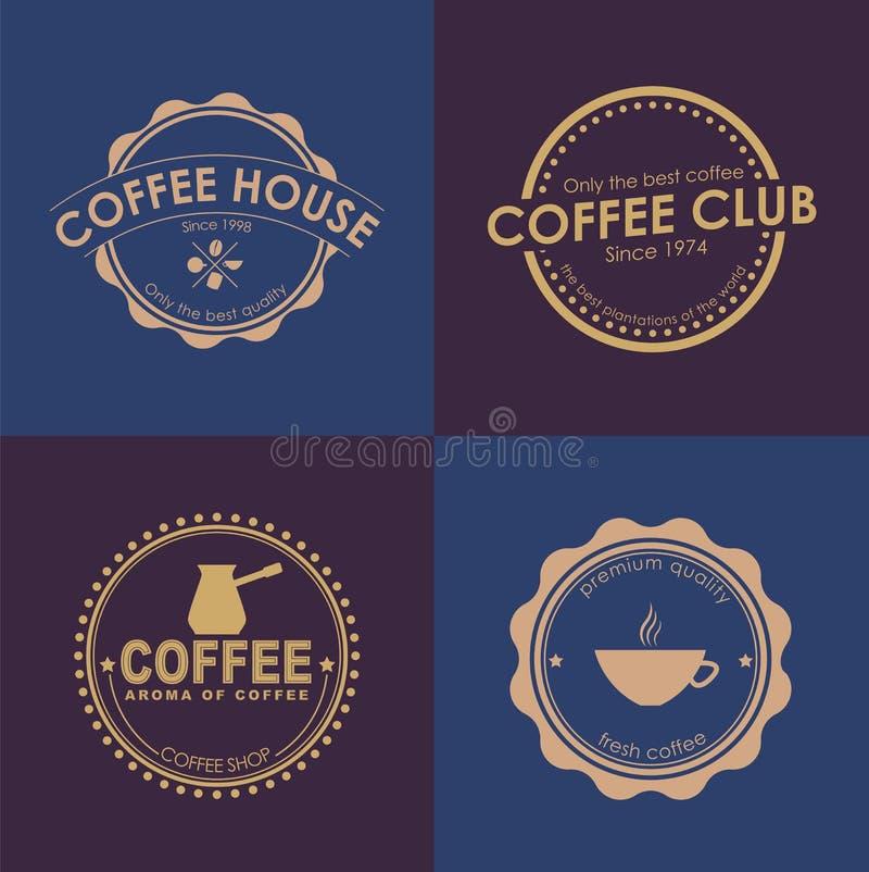 Het embleem van de ontwerpkoffie op gekleurde achtergronden vector illustratie