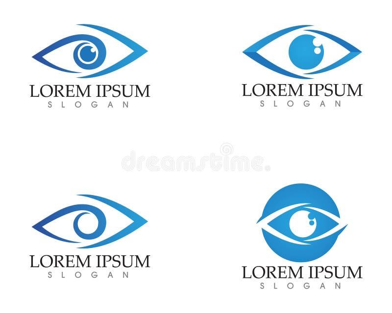 Het embleem van de oogzorg en van het symbolenmalplaatje vectorpictogrammen app stock illustratie