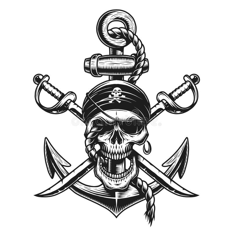 Het embleem van de piraatschedel met zwaarden, anker royalty-vrije illustratie