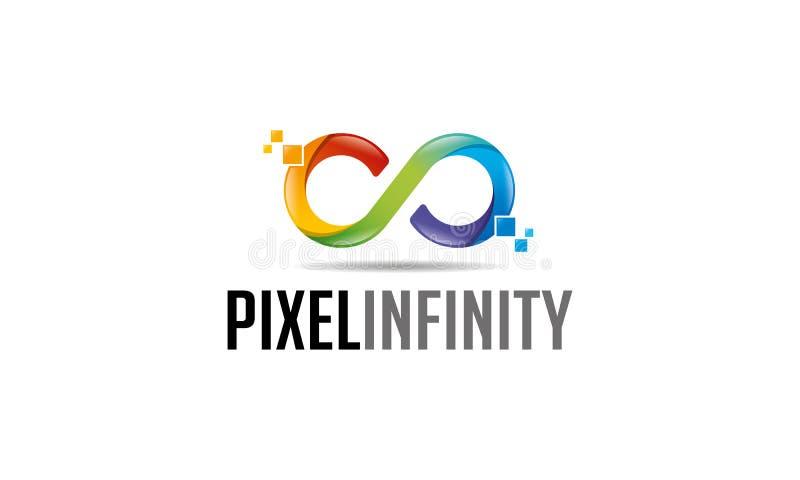 Het Embleem van de pixeloneindigheid vector illustratie