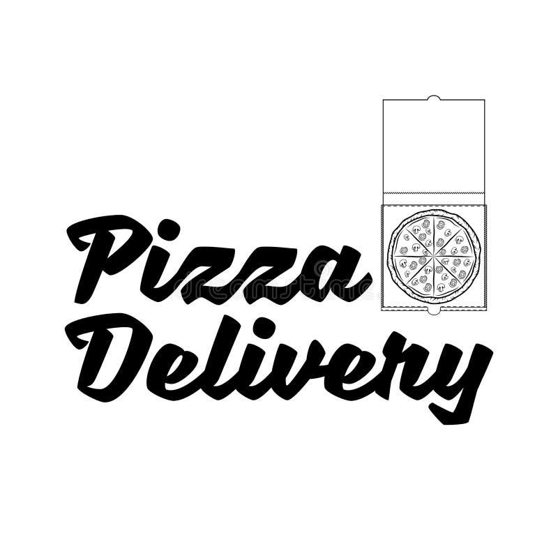 Het embleem van de pizzalevering Het malplaatje van de pizzadoos Vector illustratie stock illustratie