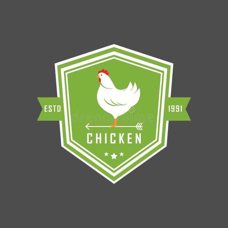 Het embleem van de premiekip Etiketten, kentekens en ontwerpelementen Organische stijl De groene stickers van de ecokip Vector il royalty-vrije illustratie