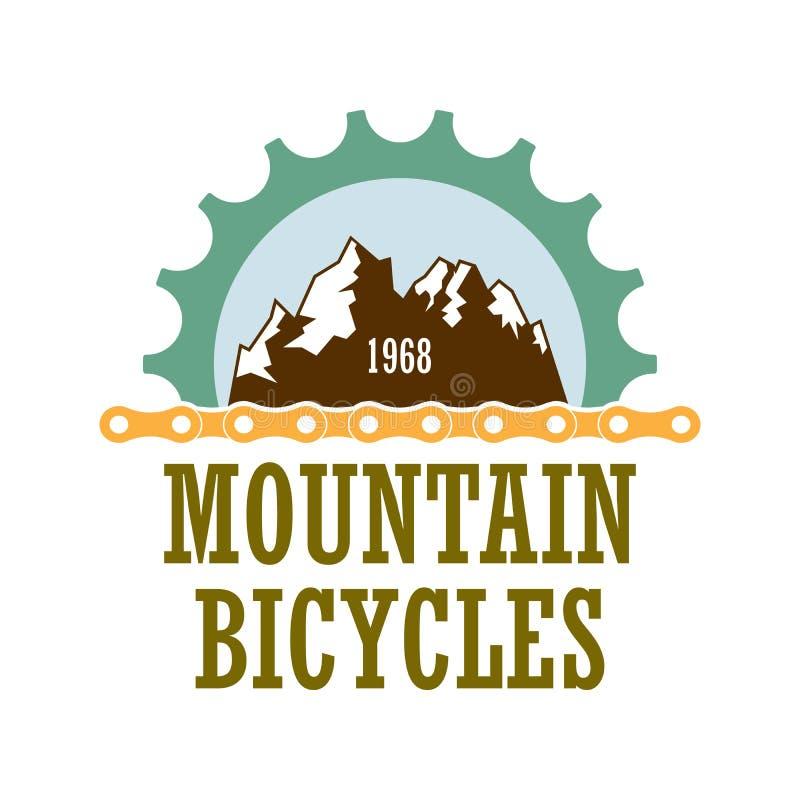 Het embleem van het de reisbedrijf van bergfietsen royalty-vrije stock foto