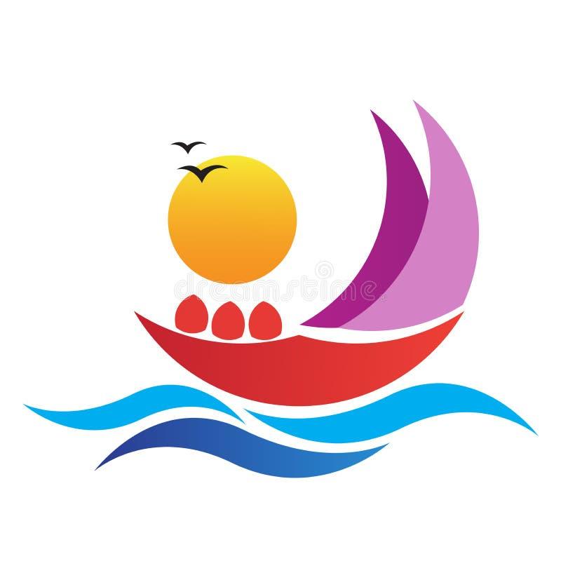 Het embleem van het de reisvervoer van de bootreis royalty-vrije illustratie