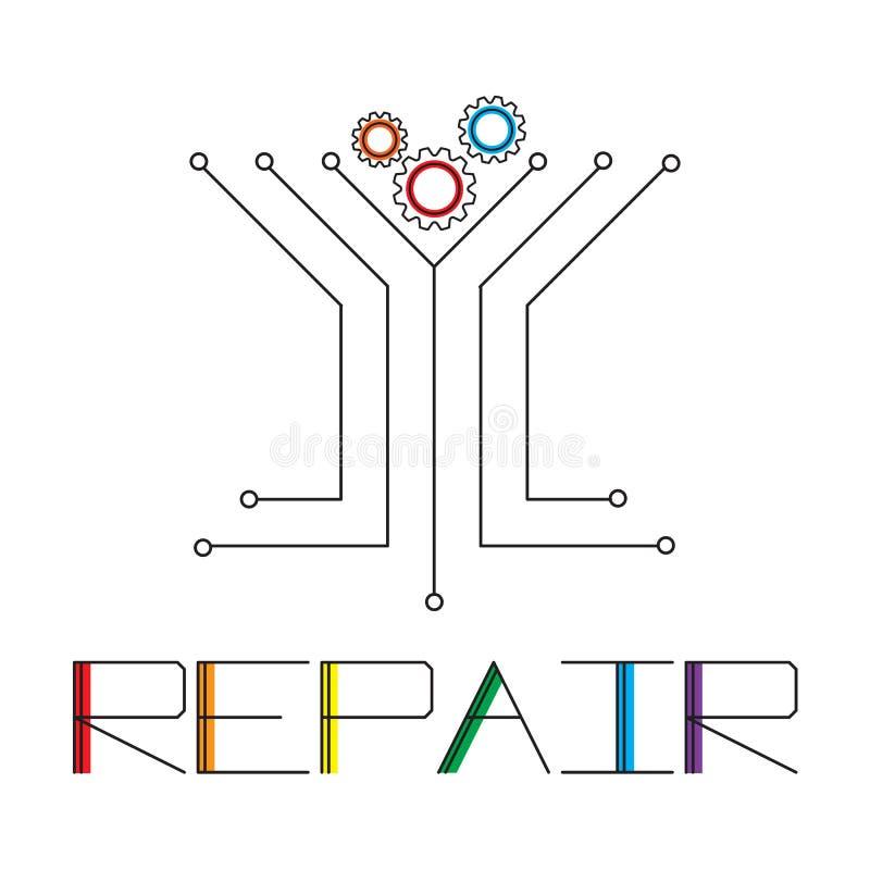 HET EMBLEEM VAN DE REPARATIEdiensten Het malplaatjeontwerpen van het Computertechnologieembleem, de ontwerpen van het het embleem royalty-vrije illustratie
