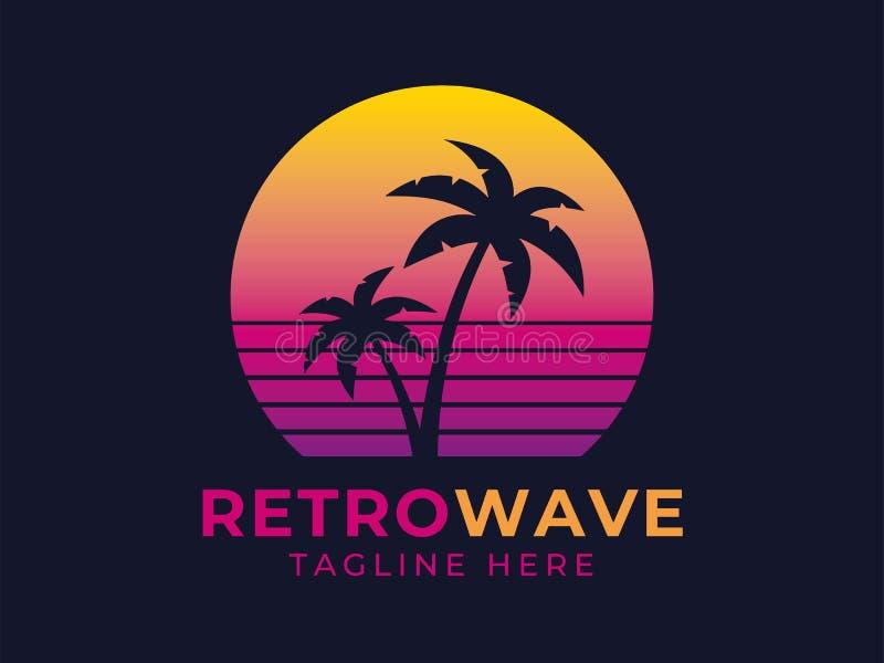 Het embleem van de Retrowavepalm stock illustratie