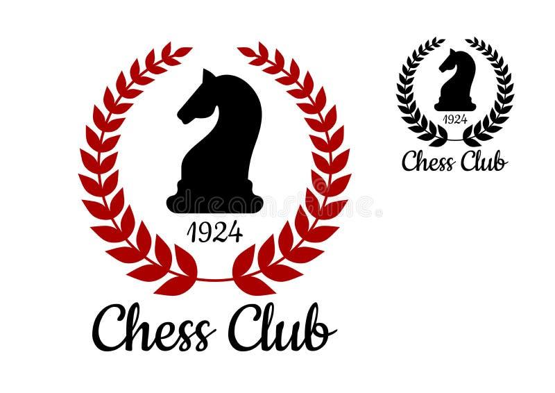 Het embleem van de schaakclub met paardcijfer vector illustratie