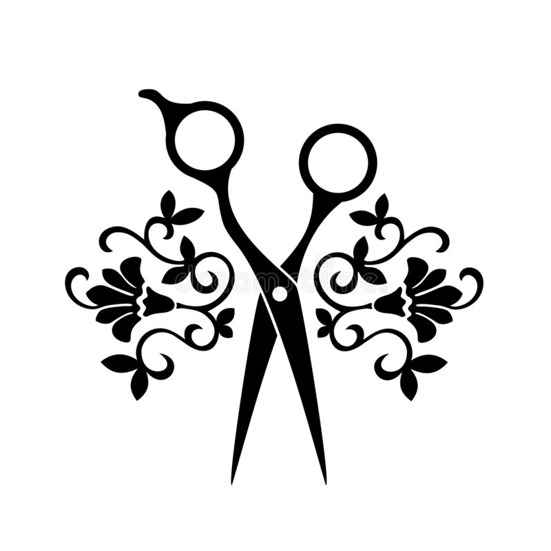 Het embleem van de schoonheidssalon, herenkapper logotype Zwarte schaar op witte achtergrond Kapperpictogram royalty-vrije illustratie