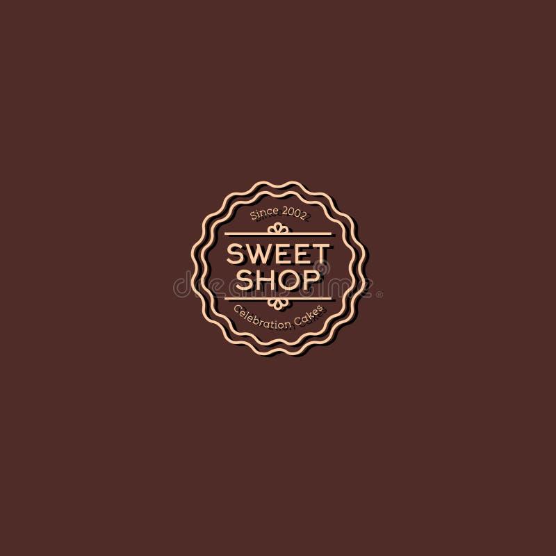 Het embleem van de snoepjeswinkel Het embleem van vieringscakes Uitstekend lineair embleem op een bruine achtergrond stock illustratie