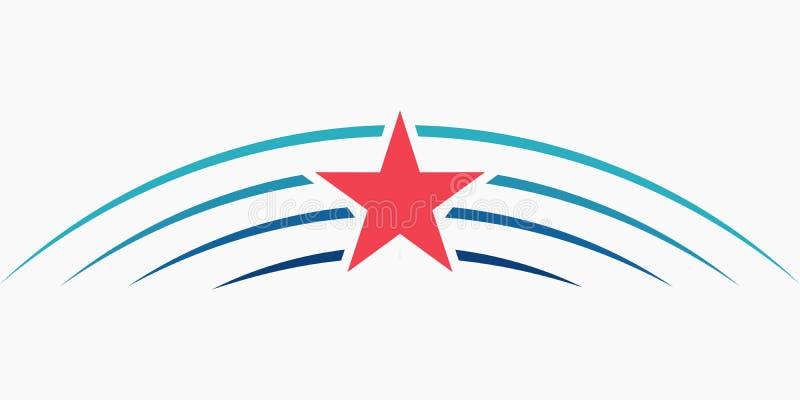 Het embleem van de sterrenmeteoor, VECTOR van het het malplaatjepictogram van het Sterembleem het teken blauwe stralen vector illustratie