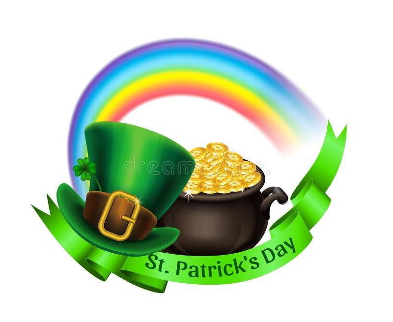 Het embleem van de Stpatrick` s dag Pot van Goud, regenboog en kabouterhoed royalty-vrije illustratie