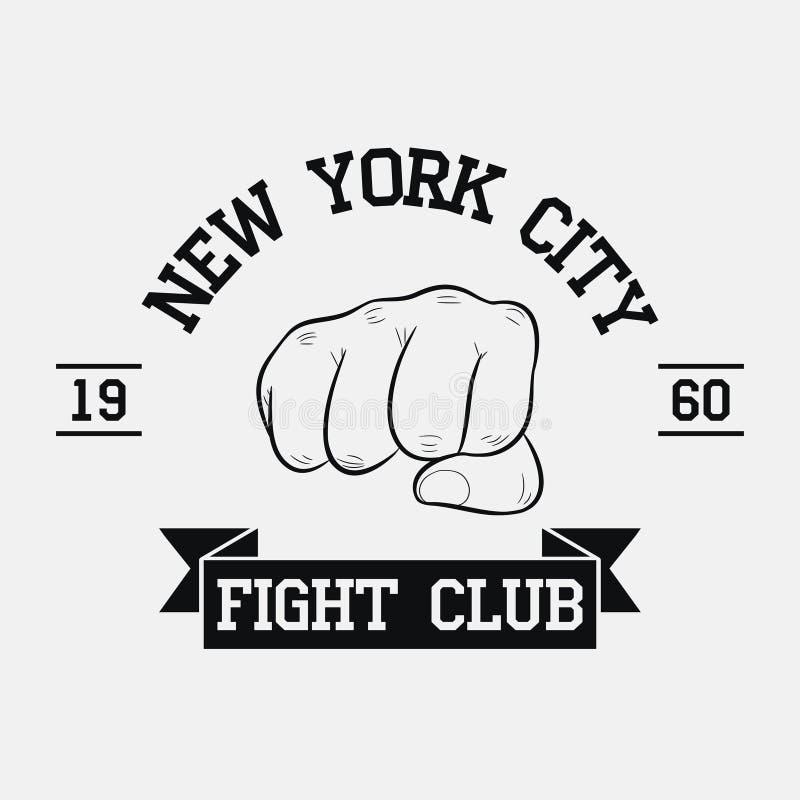 Het embleem van de strijdclub De stad van New York, MMA, Gemengde Vechtsporten stock illustratie