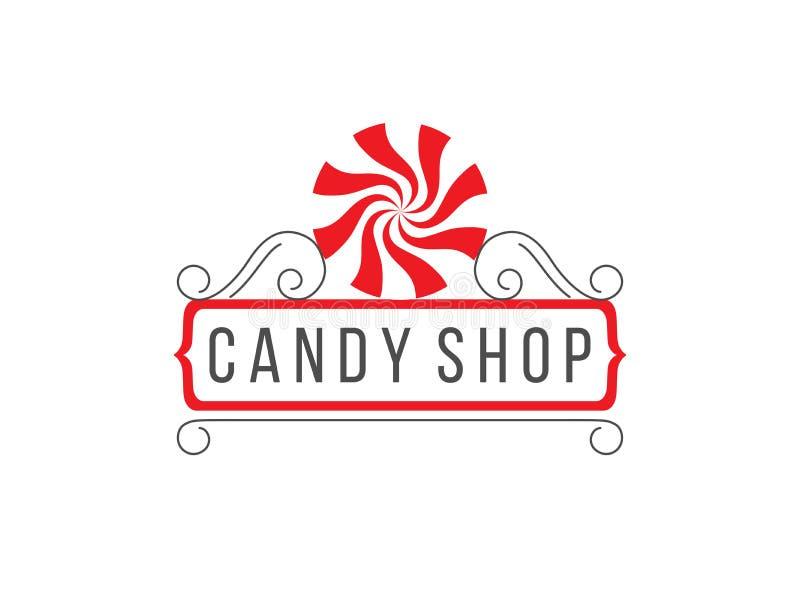 Het embleem van de suikergoedwinkel stock illustratie