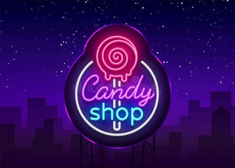 Het embleem van de suikergoedwinkel in neonstijl Het neonteken van opslagsnoepjes, de nachtsnoepjes van het banner lichte, helder royalty-vrije illustratie