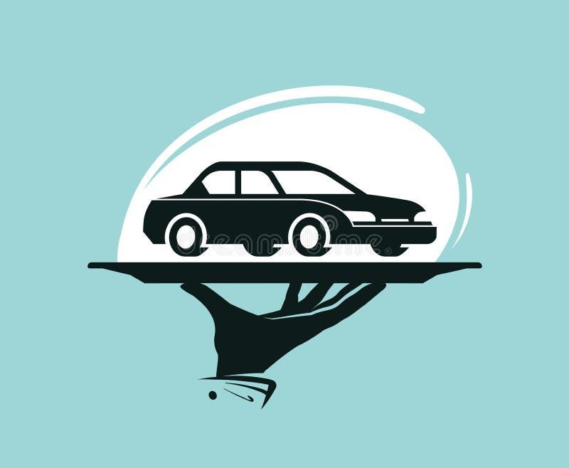 Het embleem van de taxidienst Autowasserette, het handel drijven, handelaar, autodelen, huurpictogram of etiket vector illustratie