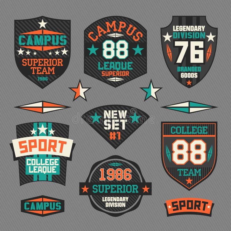 Het embleem van de universiteitssport vector illustratie