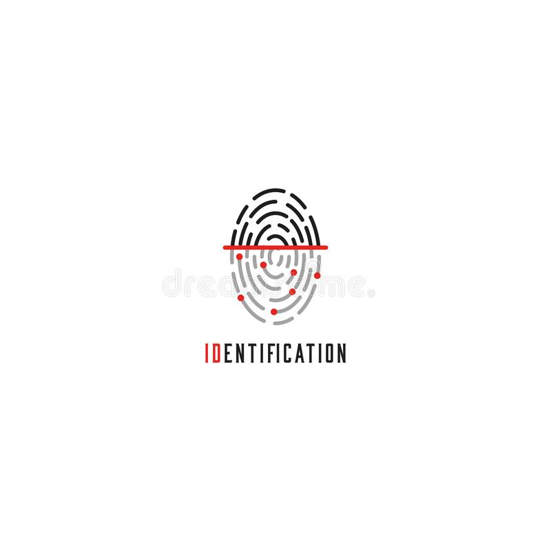 Het embleem van de vingerafdrukscanner, identificatiegebruiker - identiteitskaart-aanrakingsvinger, het pictogram van de autorisa royalty-vrije illustratie