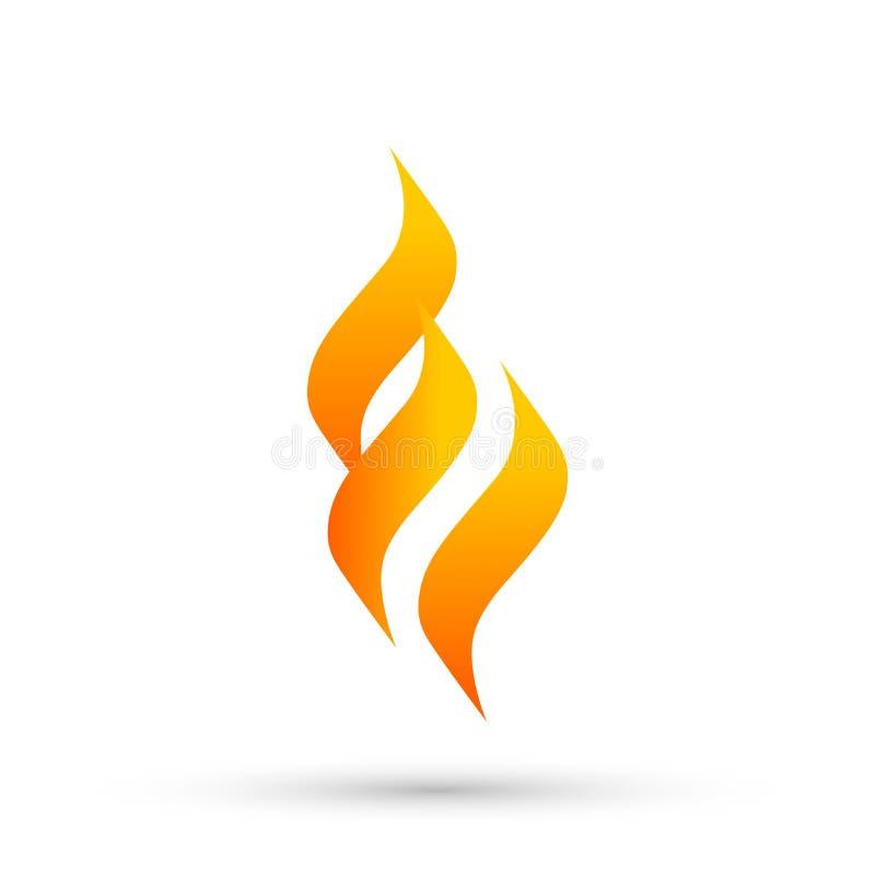Het embleem van de vlambrand, de moderne vector van het het pictogramontwerp van het vlammen logotype symbool op witte achtergron royalty-vrije illustratie