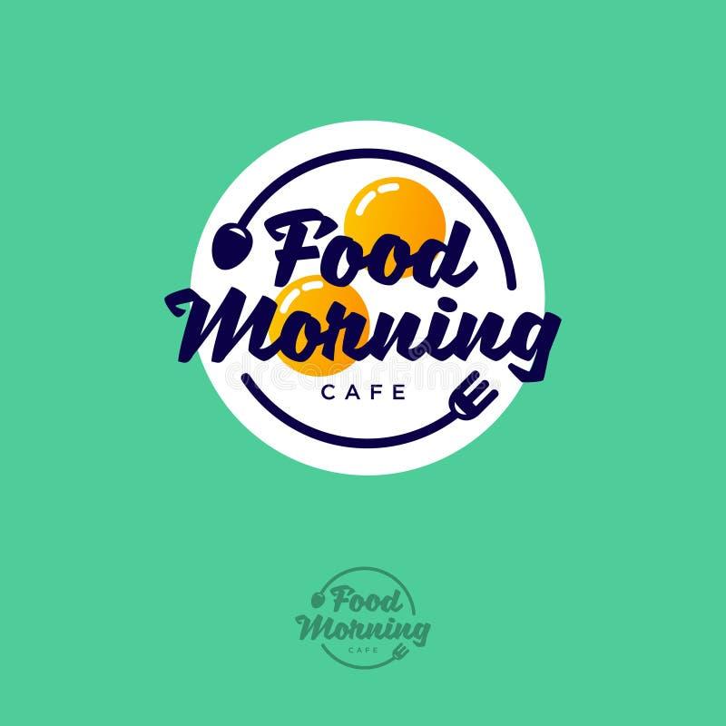 Het embleem van de voedselochtend Het embleem van de ontbijtkoffie Gebraden eierenvork en lepel op een groene achtergrond royalty-vrije illustratie
