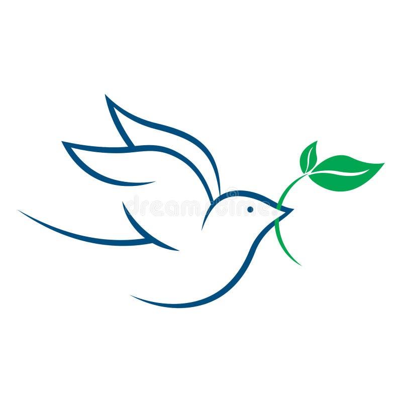 Het embleem van de vredesduif - vectorillustratie vector illustratie