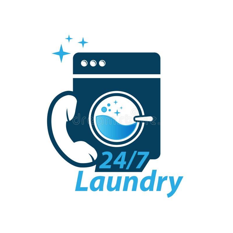 Het embleem van de de wasserijruimte van de wasmachine stock illustratie
