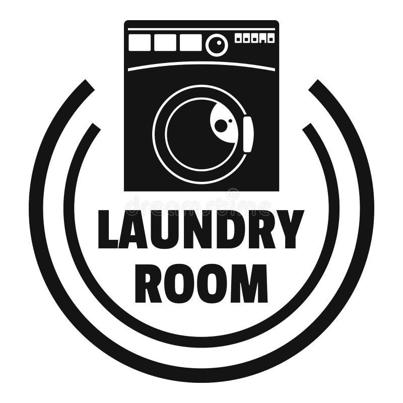 Het embleem van de de wasserijruimte van de wasmachine, eenvoudige stijl royalty-vrije illustratie