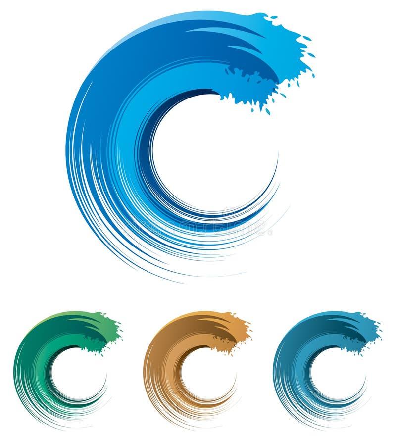 Het Embleem van de watergolf vector illustratie