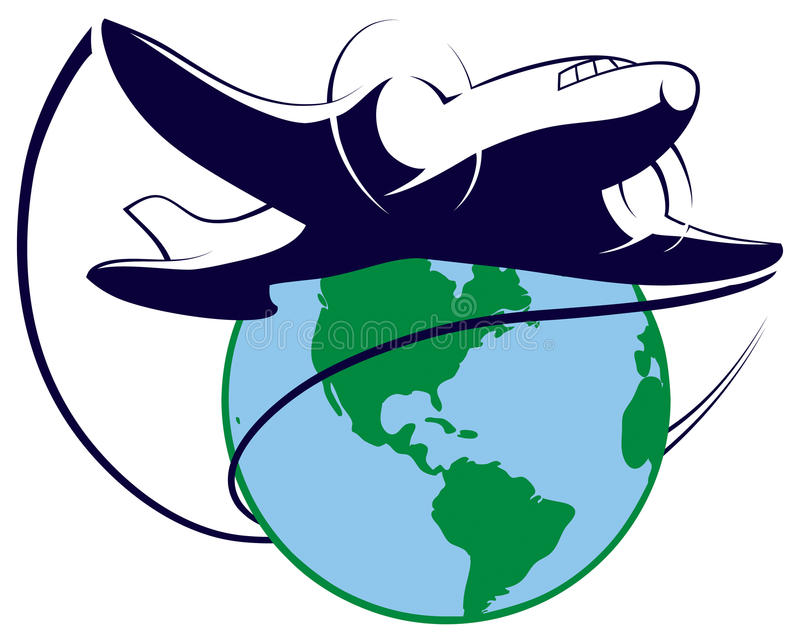 Het Embleem van de wereldreis vector illustratie