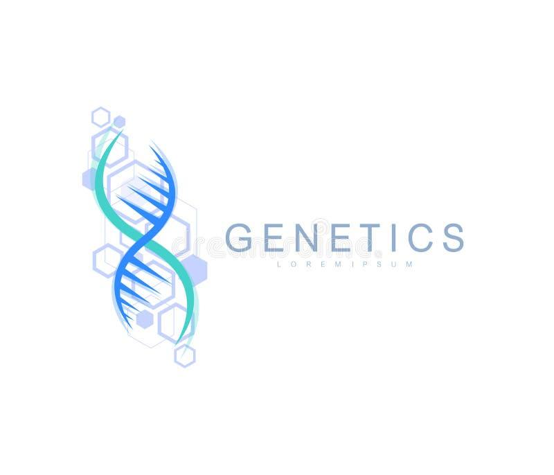 Het embleem van de wetenschapsgenetica, DNA-schroef Genetische analyse, de codedna van onderzoekbiotech Het chromosoom van het bi stock illustratie