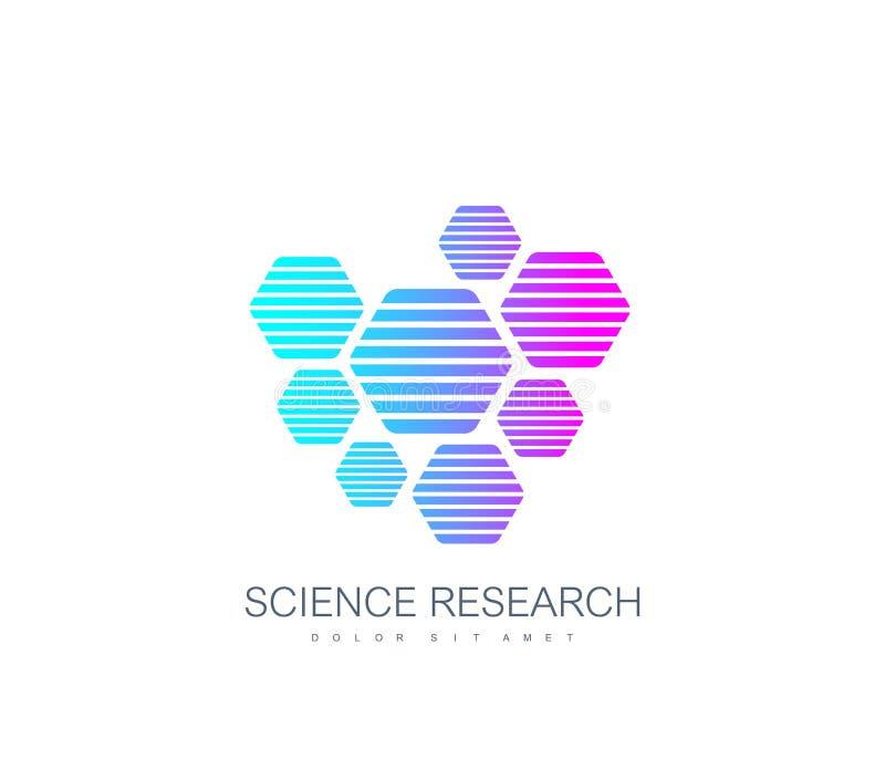 Het embleem van de wetenschapsgenetica, DNA-schroef Genetische analyse, de codedna van onderzoekbiotech Het chromosoom van het bi vector illustratie