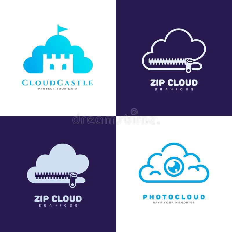 Het embleem van de wolkendienst stock illustratie