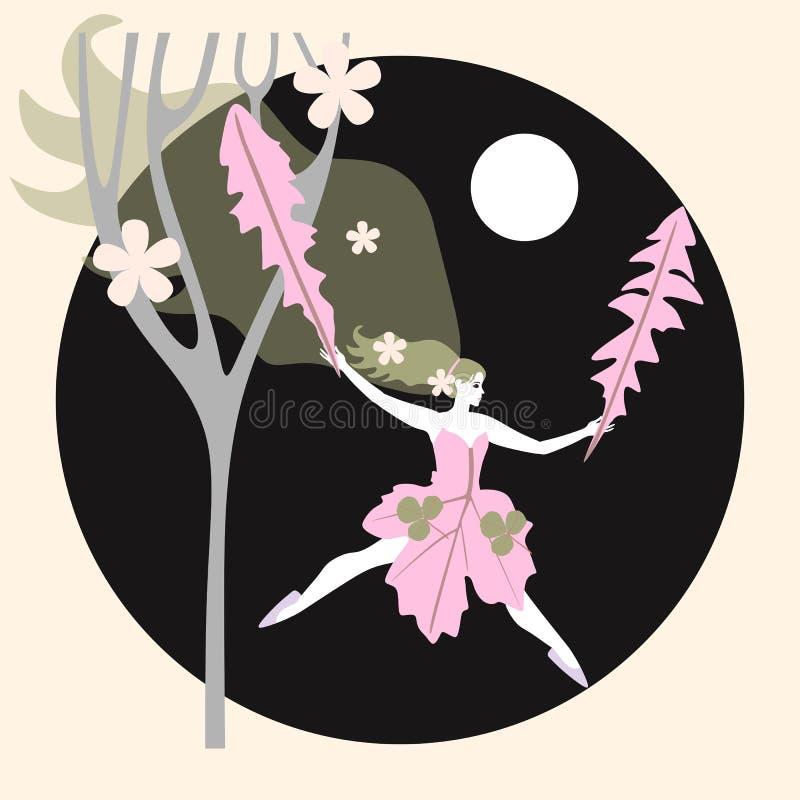 Het embleem van het Ecoontwerp Jong meisje - fee met bladeren van paardebloemlooppas door de bos de Groet of de uitnodigingskaart royalty-vrije illustratie