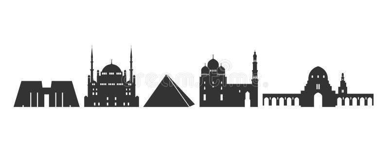 Het embleem van Egypte Geïsoleerde Egyptische architectuur op witte achtergrond stock illustratie