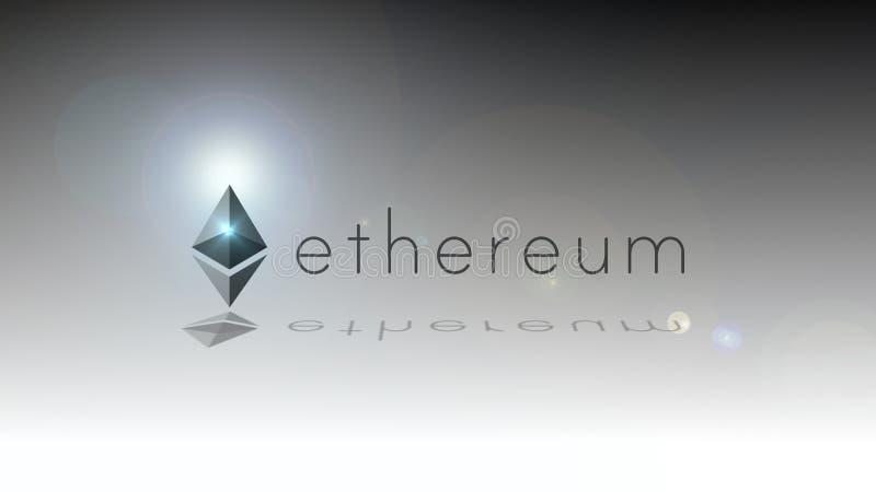 Het embleem van Ethereumcryptocurrency Ethereum is een gedecentraliseerd platform dat in werking slimme contracten stelt die op b royalty-vrije illustratie
