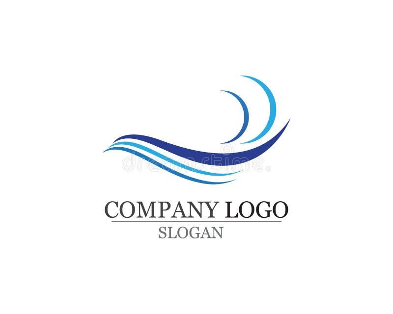 Het embleem van het golvenstrand en van het symbolenmalplaatje pictogrammen app vector illustratie
