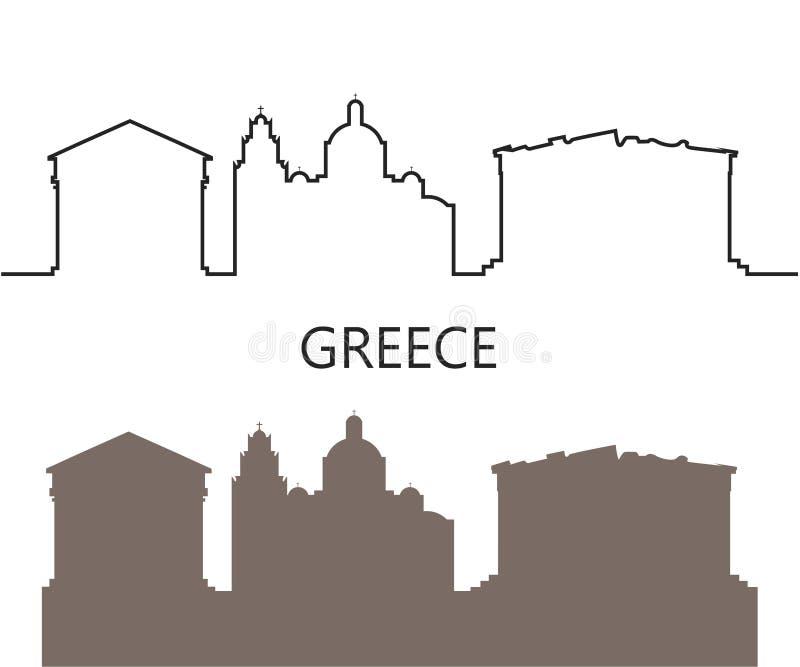 Het embleem van Griekenland Ge?soleerde Griekse architectuur op witte achtergrond vector illustratie